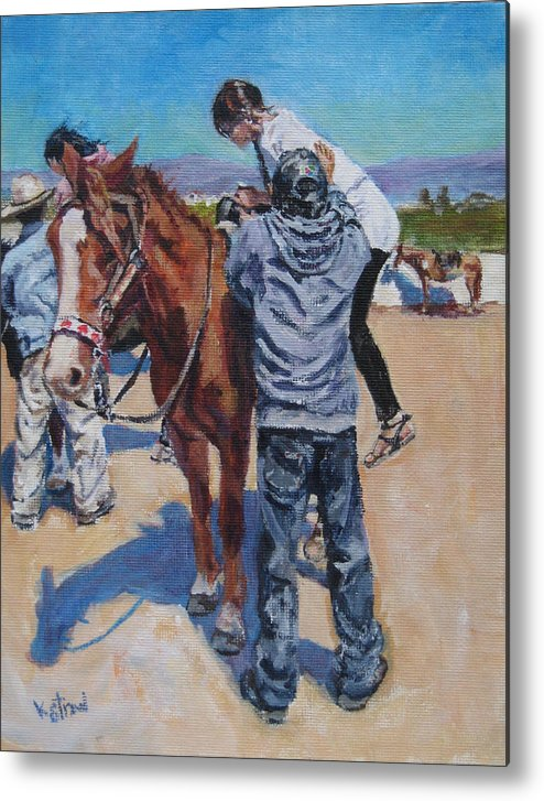 Baja Metal Print featuring the painting Wrong Shoes For Riding by Kellie Straw
