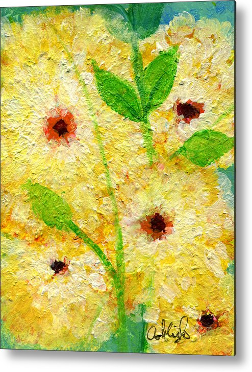 Flowers Metal Print featuring the painting Yellow Flowers Laugh In Joy by Ashleigh Dyan Bayer