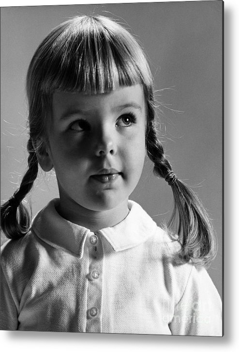 Girl Metal Print featuring the photograph Young Girl by Hans Namuth and Photo Researchers