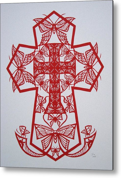 Beliefs Metal Print featuring the mixed media 003 Butterfly-cross by Tong Steinle