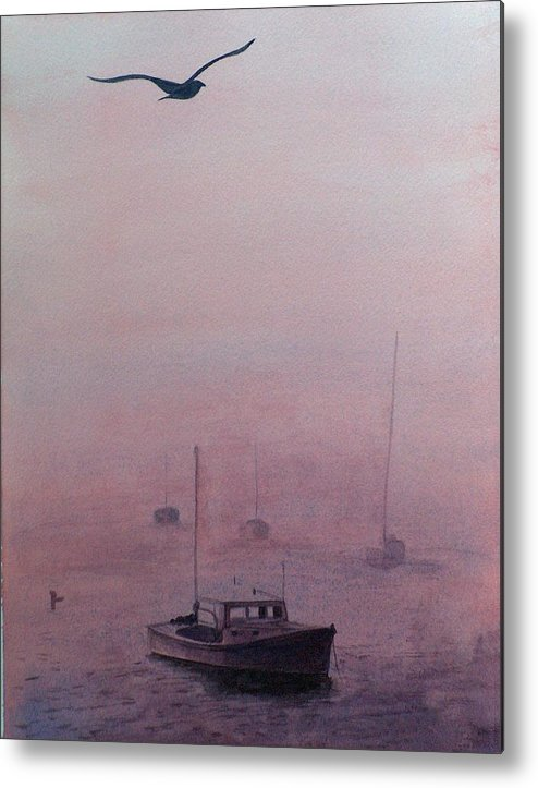 Seascape Metal Print featuring the painting Harbor Fog by Sylvia Stone