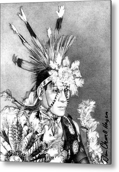 American Indian Metal Print featuring the drawing Kiowa Indian by Dan Clewell