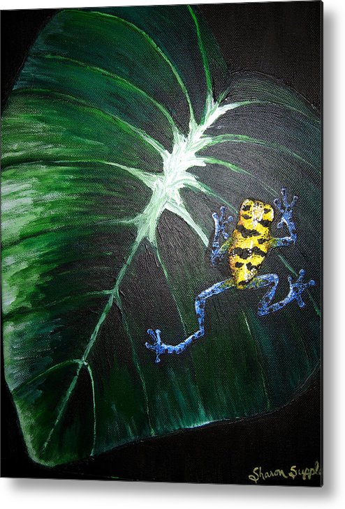 Poison Dart Frog Metal Print featuring the painting Little Frog In A Big World by Sharon Supplee