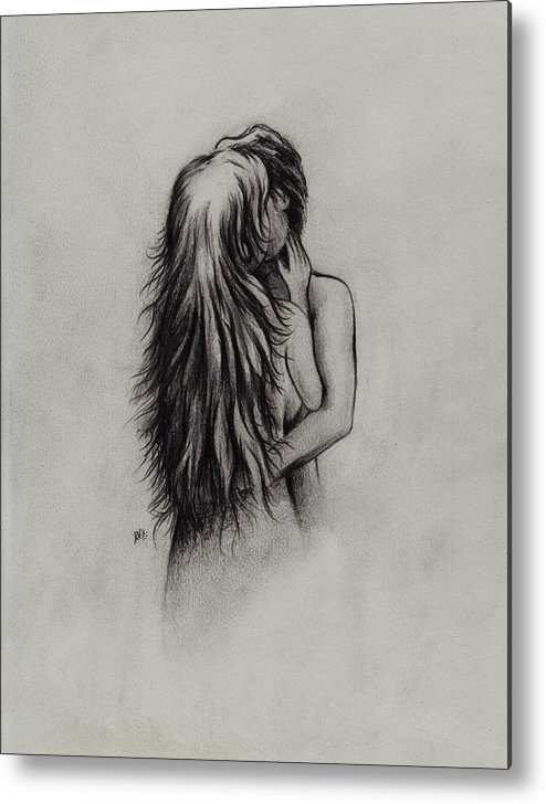 Figures Metal Print featuring the drawing Lovers by Rachel Christine Nowicki