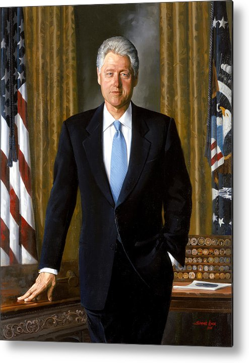 Bill Clinton Metal Print featuring the painting President Bill Clinton by War Is Hell Store
