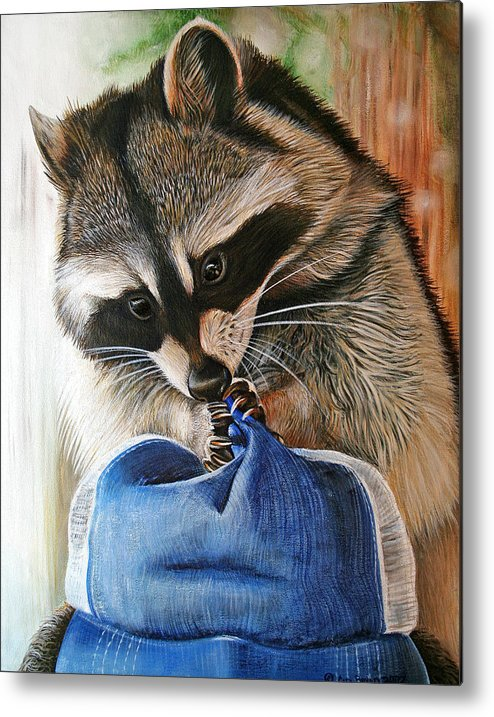 Raccoon Metal Print featuring the painting Raccoon Cap by Cara Bevan