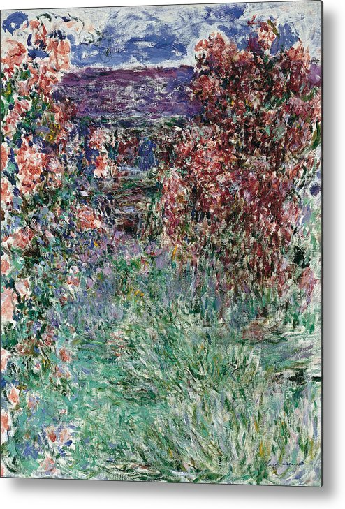 Claude Monet Metal Print featuring the painting The House Among The Roses by Claude Monet