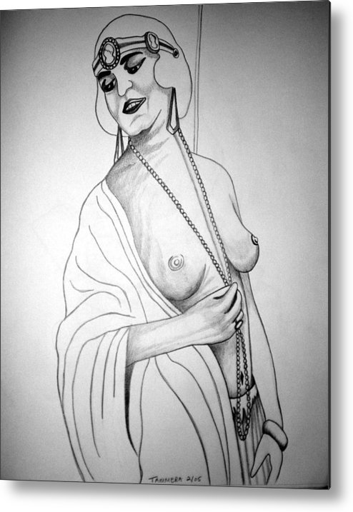 Deco Metal Print featuring the drawing 1920s Women Series 13 by Tammera Malicki-Wong