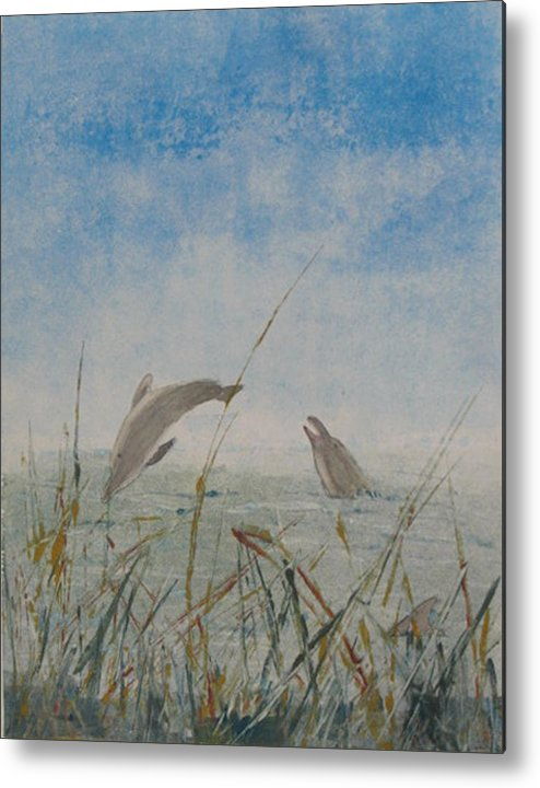 Dolphin Metal Print featuring the painting Dolphin Frolic by Libby Cagle