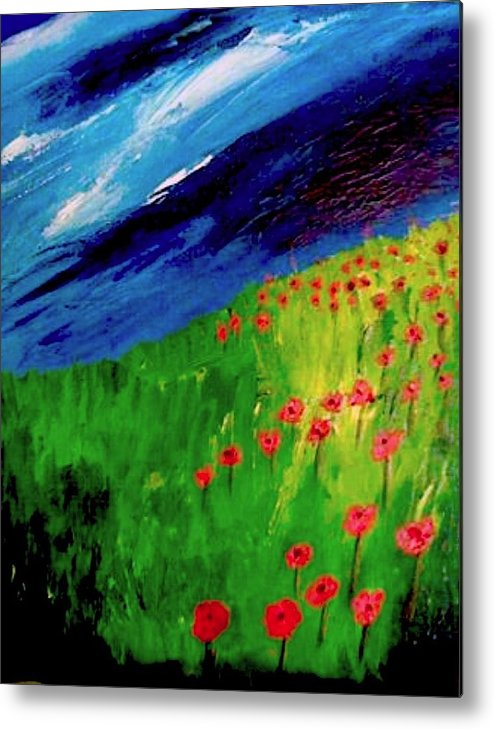 Flowers Metal Print featuring the painting field of Poppies by Misty VanPool