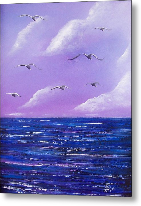 Seascape Metal Print featuring the painting 7 Seabirds by Tony Rodriguez