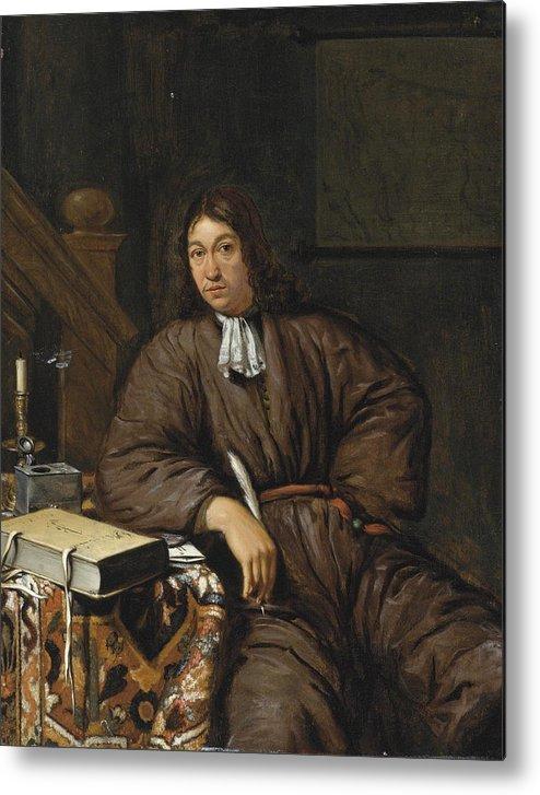 Michiel Van Musscher Metal Print featuring the painting A Gentleman At His Desk by Michiel van Musscher