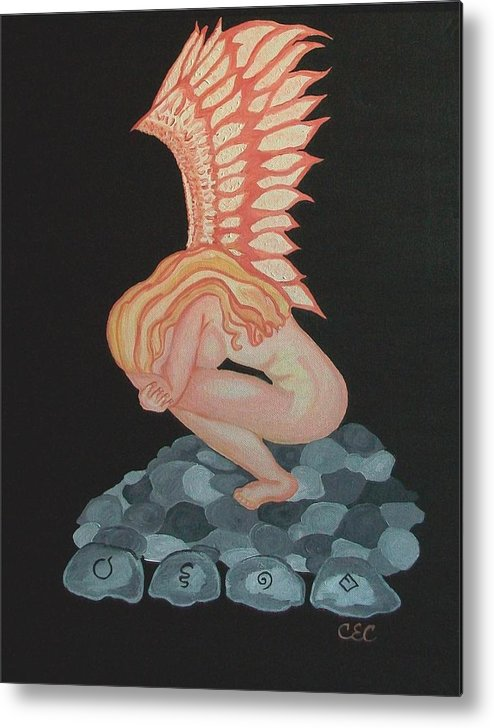 Angel Metal Print featuring the painting A Moments Rest by Carolyn Cable