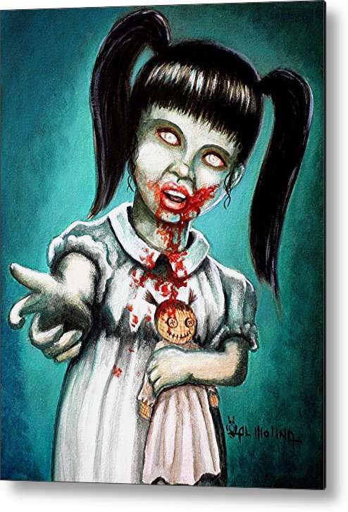 Zombie Metal Print featuring the painting Aaarrgg Thats Zombie Talk For Mommy by Al Molina