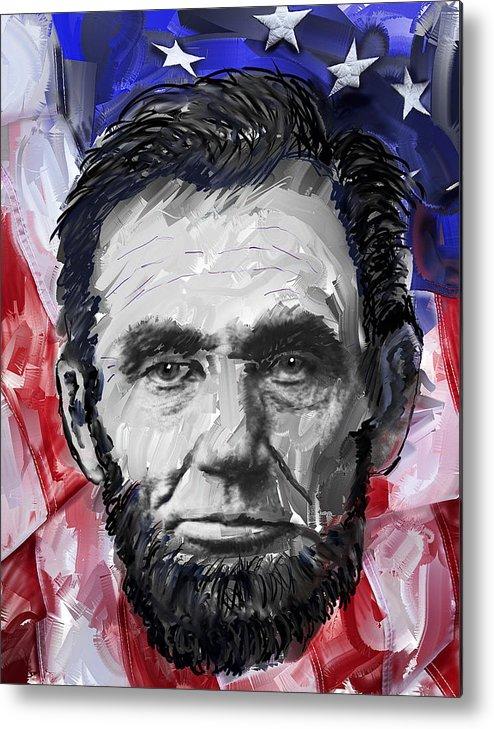 abraham Lincoln Metal Print featuring the digital art Abraham Lincoln - 16th U S President by Daniel Hagerman