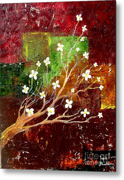 Abstract Metal Print featuring the painting Abstract Blossom by Inna Montano