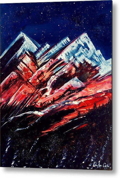Mountains Metal Print featuring the painting Abstract Mountains by Daryl-Ann Cole