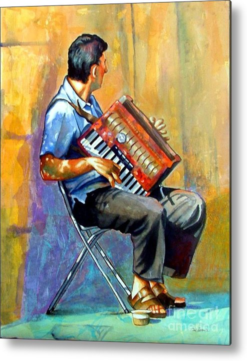Portrait Metal Print featuring the painting Accordian Player by Gail Zavala