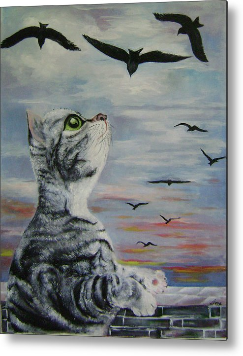 Imaginative Metal Print featuring the painting Admiration by Lian Zhen