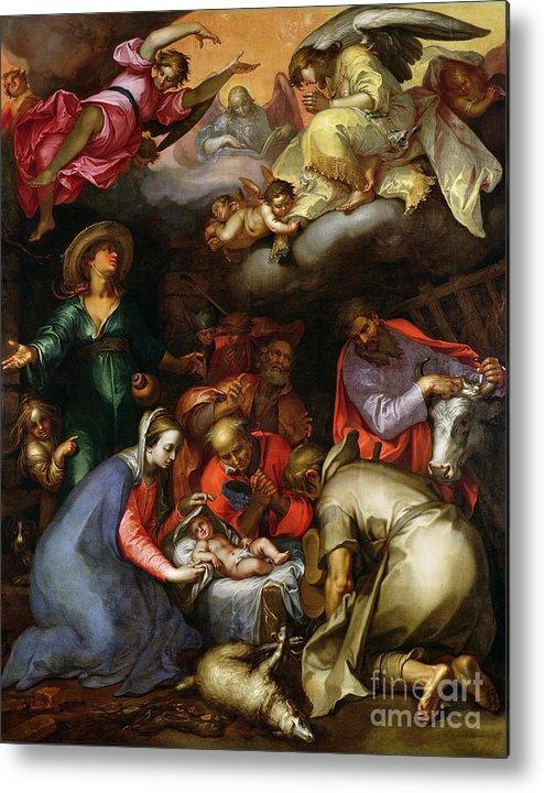 Adoration Of The Shepherds Metal Print featuring the painting Adoration Of The Shepherds by Abraham Bloemaert