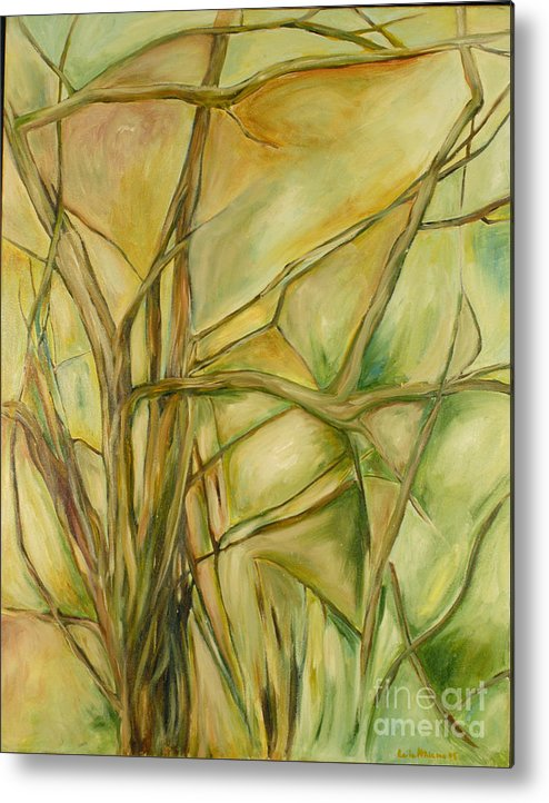 Trees Abstract Green Metal Print featuring the painting Agile Green by Leila Atkinson