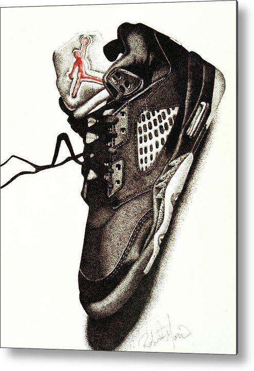 Shoes Metal Print featuring the drawing Air Jordan by Robert Morin