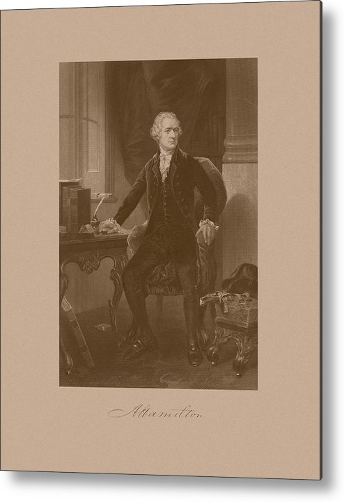 Alexander Hamilton Metal Print featuring the mixed media Alexander Hamilton Sitting At His Desk by War Is Hell Store