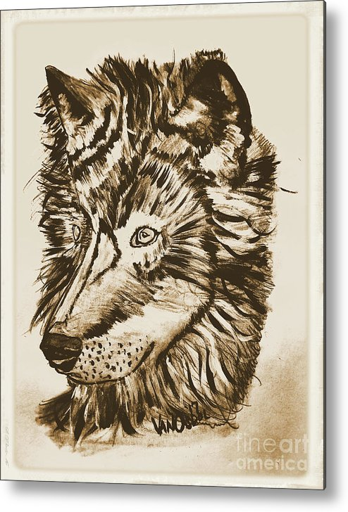 Alpha Metal Print featuring the mixed media Alpha Male - The Wolf - Antiqued by Scott D Van Osdol
