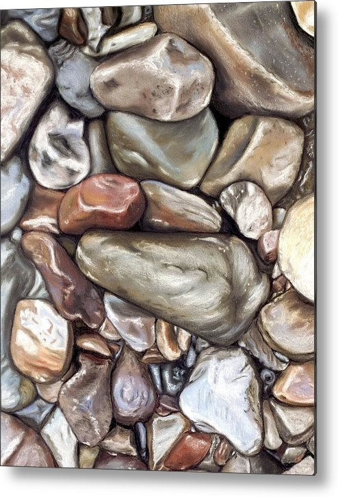 Rocks Metal Print featuring the painting American River Rocks by Brenda Williams