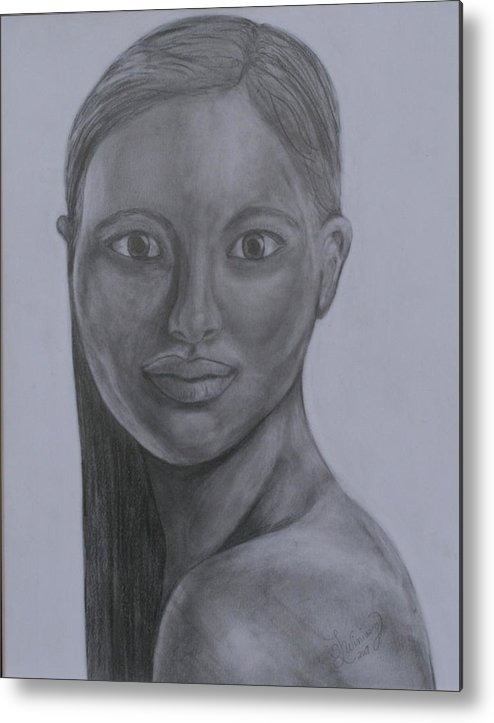 Beautiful Woman Metal Print featuring the drawing Anastasia by Sandra Winiasz