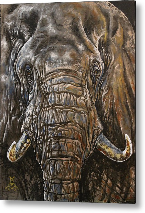 Elephant Metal Print featuring the painting Ancient Memories by Marco Antonio Aguilar