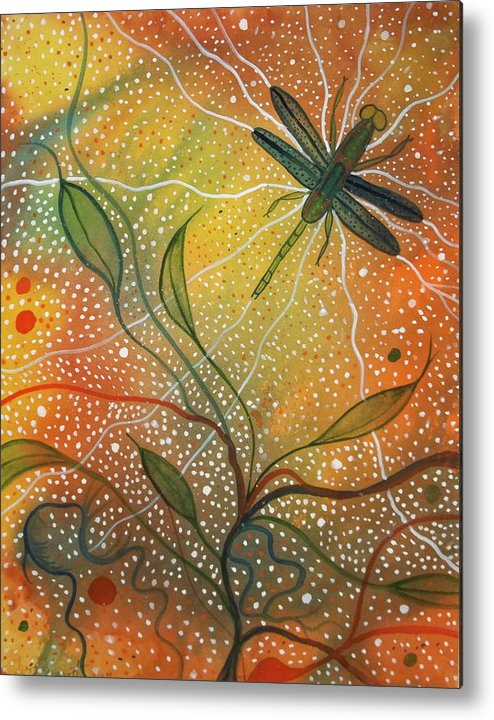 Watercolors Paintings Berkshires Lenox Art Abstract Dragonflies Summer Yoga Meditation Nature Metal Print featuring the painting Anisozygoptera by Scott Harrington
