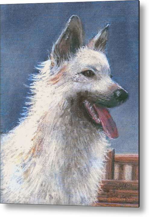 Dog Metal Print featuring the pastel Anticipating Their Return by Arline Wagner