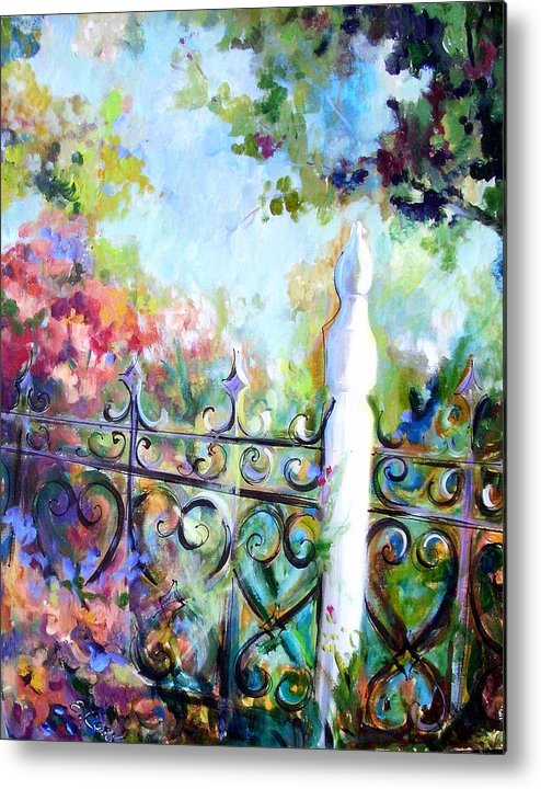 Floral Metal Print featuring the painting Antique Fence by Elaine Cory