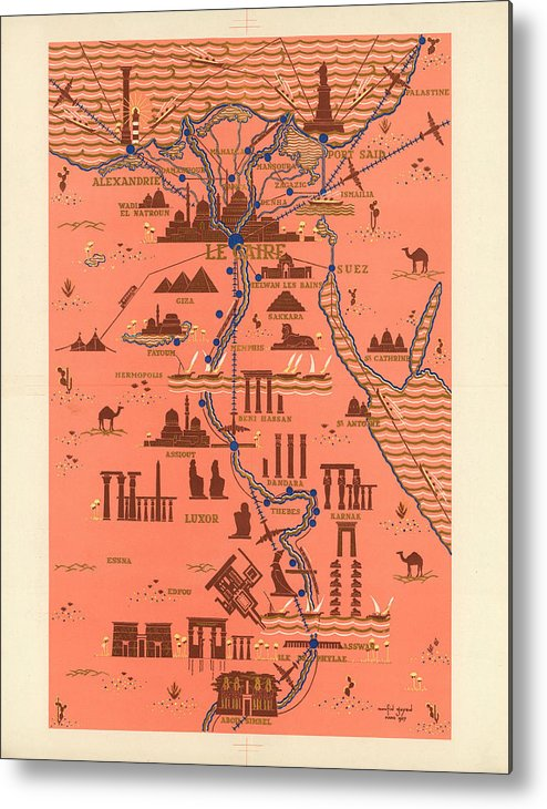 Antique Illustrated Map Of Egypt Monuments Around River Nile
