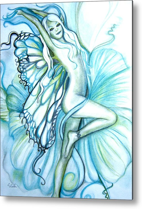 Dancing Fairy Metal Print featuring the drawing Aquafairie by L Lauter