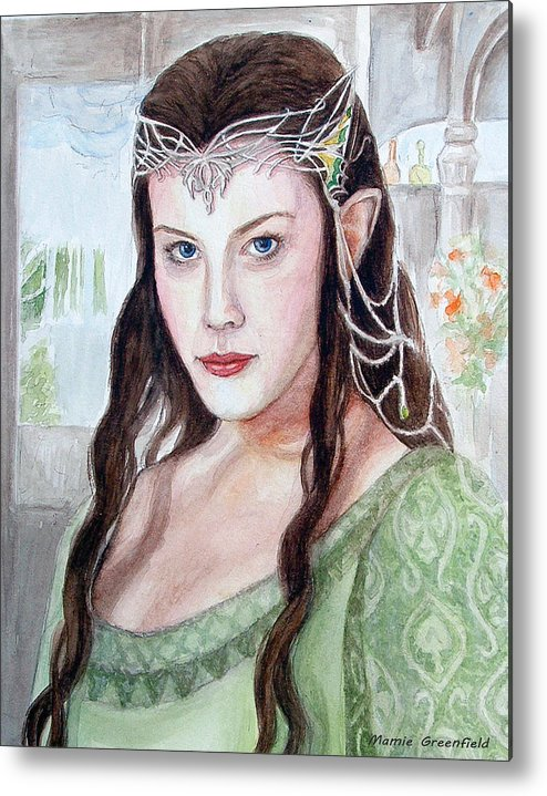 Portraits Metal Print featuring the painting Arwen by Mamie Greenfield
