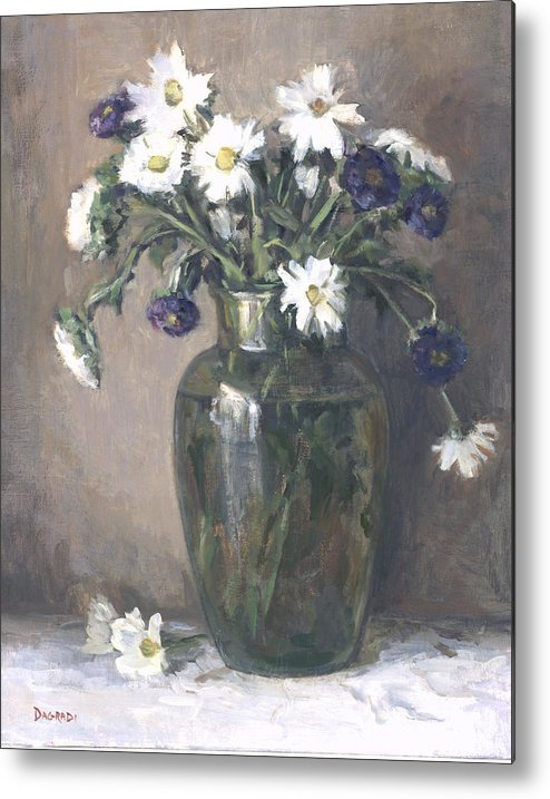 Floral Still Life Metal Print featuring the painting Asters And Daisies by Joan DaGradi
