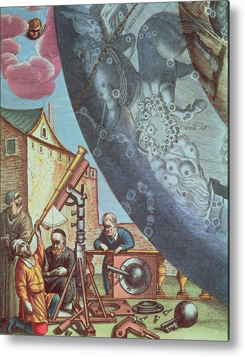 Astronomers Metal Print featuring the painting Astronomers Looking Through A Telescope by Andreas Cellarius