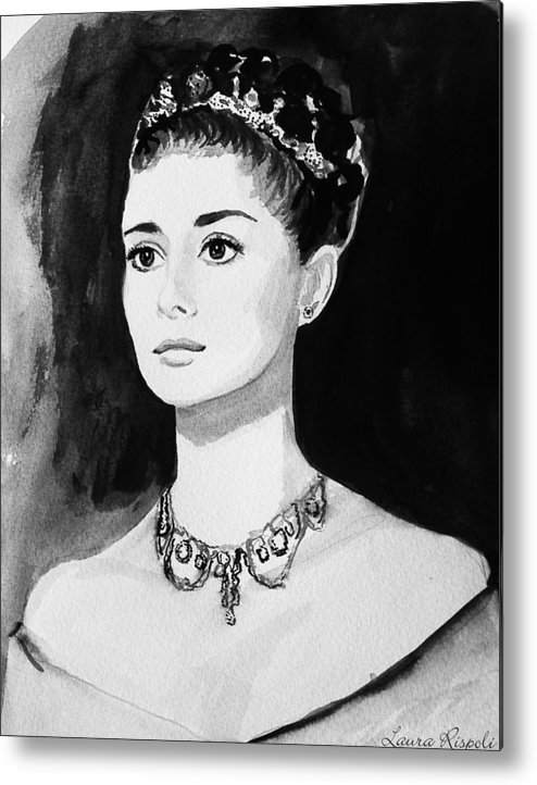 Audrey Hepburn Metal Print featuring the painting Audrey by Laura Rispoli