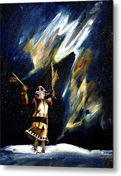 Alaska Metal Print featuring the painting Aurora Dancer by Dianne Roberson