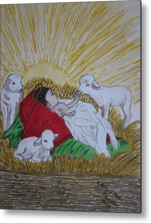 Saviour Metal Print featuring the painting Baby Jesus At Birth by Kathy Marrs Chandler