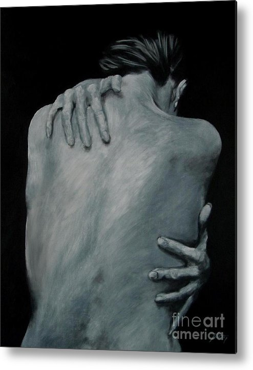 Nude Metal Print featuring the painting Back Of Naked Woman by Jindra Noewi