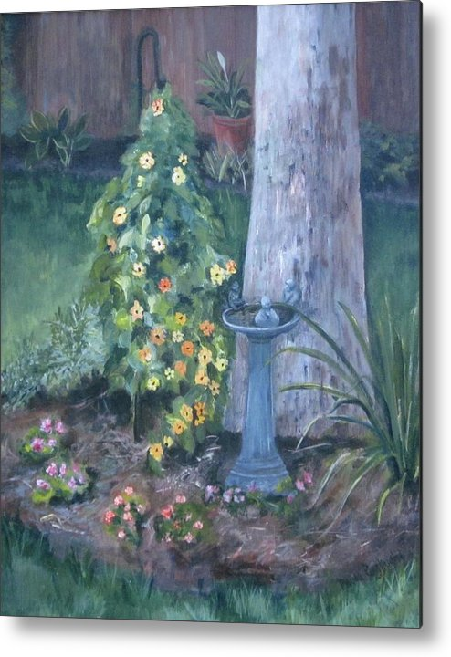 Everything In Bloom In Summertime Metal Print featuring the painting Backyard by Paula Pagliughi