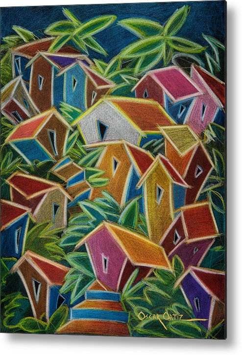 Landscape Metal Print featuring the painting Barrio Lindo by Oscar Ortiz