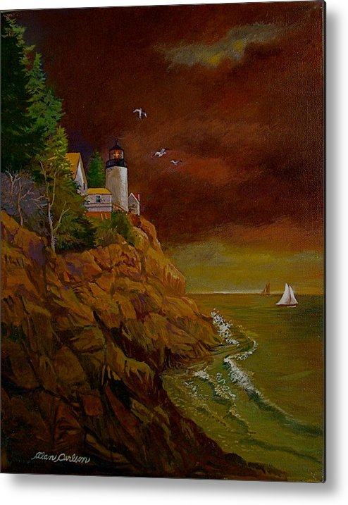 Light House Metal Print featuring the painting Bass Harbor Light Mt Desert Maine by Alan Carlson