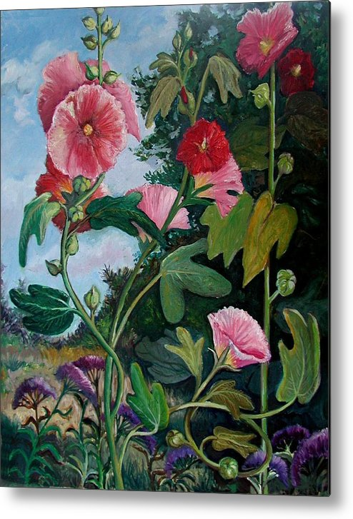 Flower Metal Print featuring the painting Bent Hollyhocks by Fran Kelly
