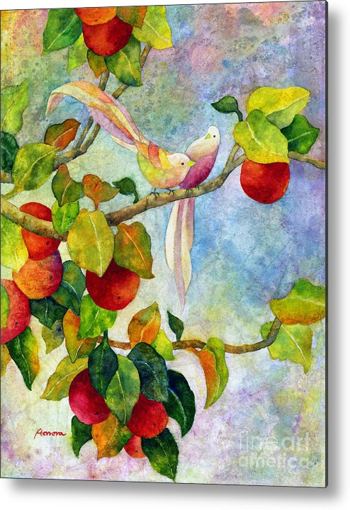 Birds Metal Print featuring the painting Birds On Apple Tree by Hailey E Herrera