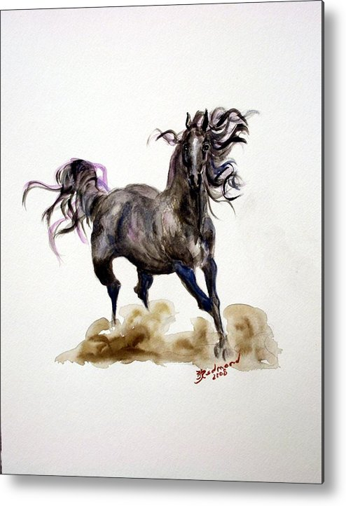 Black Horse Metal Print featuring the painting Black Horse by BJ Redmond
