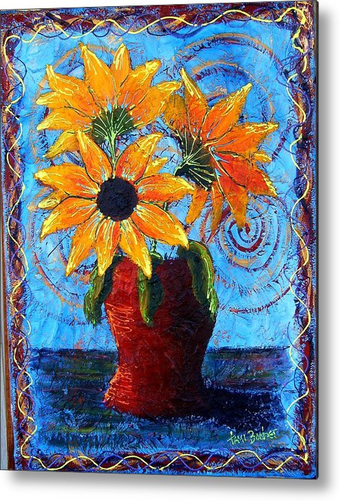 Metal Print featuring the painting Blazing Sunflowers by Tami Booher